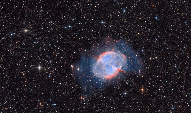 Dumbell Nebula M27  in HaO3 and RGB,                                Arnaud Peel