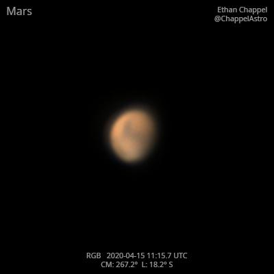 Mars on April 15, 2020,                                Chappel Astro