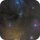 LDN1688/1689 VDB104/105/108, IC4606 - Rho Ophiuchi molecolar cloud complex in Drizzle 2x & DSLR,                                Gianni Cerrato