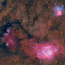 The Sagittarius Trio - M8 Lagoon Nebula, M20 Trifid Nebula, & NGC 6559 + IC 1274/75 + IC 4685,                                Jarrett Trezzo