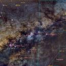 M8 M20 M16 M17 M24 M23 M22 M25 IC1287 Very Wide Field Milky Way PixInsight Plate Solved,                                msmythers