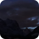 Christmas Star Jupiter + Saturn in cloud hole over mountain Eiger,                                AstroEdy