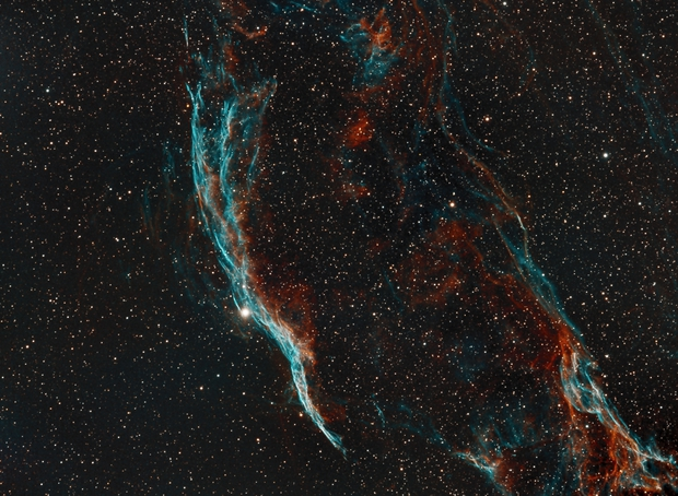 NGC 6960 - Western Veil Nebula - Narrowband SHO - Orion ED80 - ASI1600MM,                                Rowland Archer