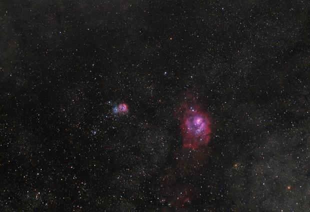 Lagoon and Trifid nebulae,                                OrionRider