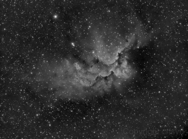 Wizard nebula in Ha,                                J.L.López Salas