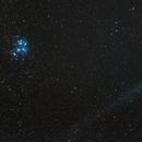 Comet Love and the Pleiades,                                Big_Dob
