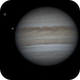 Jupiter time-lapse with three moons,                                bubblewed