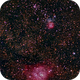 Lagoon- and Trifidnebula with  cheap telelens,                                Doc_HighCo