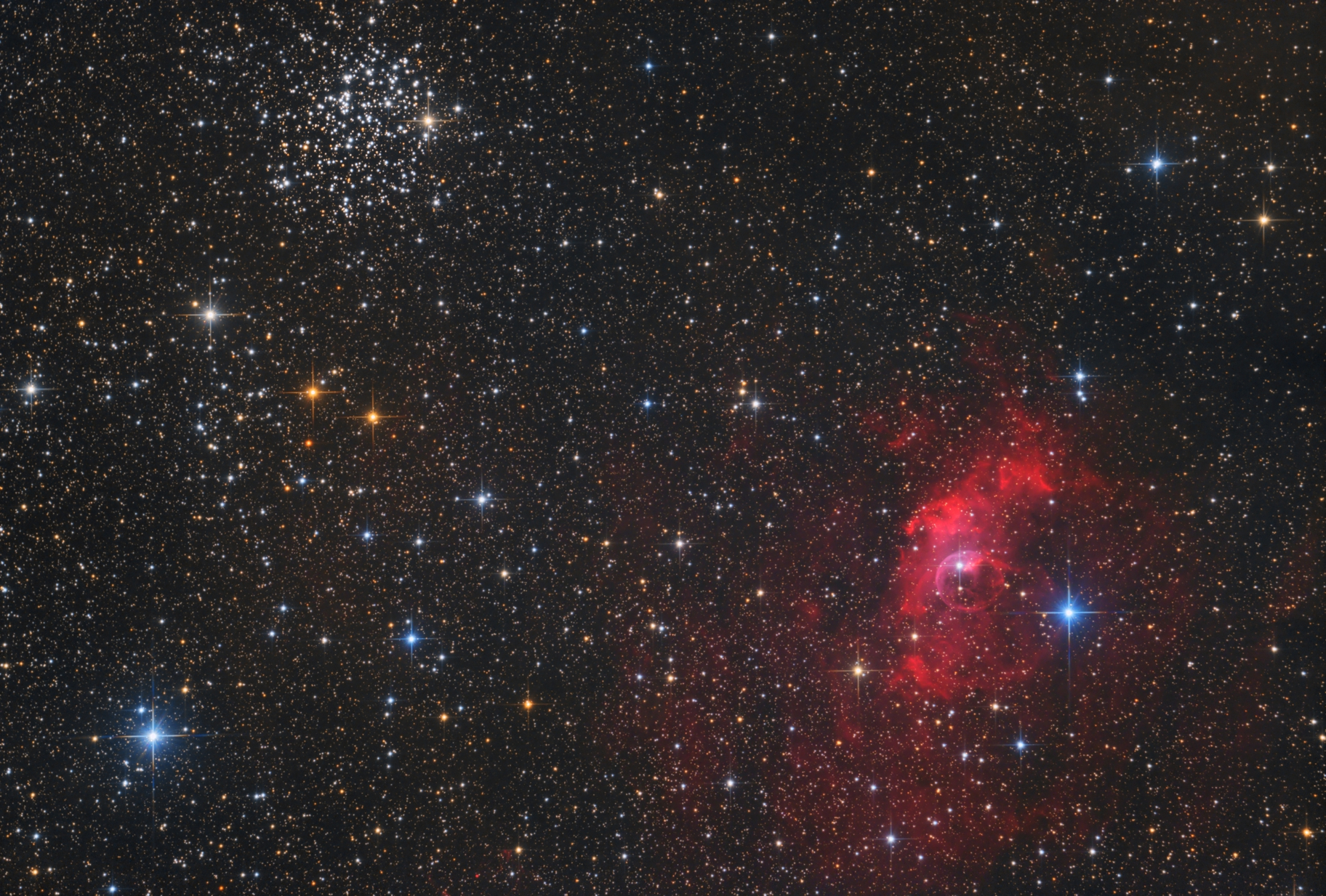 Bubble Nebula with Open Star Cluster M52,                                Michael S.