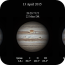 Series of 3 Jupiter with Io images from 13 April 2015,                                Geof Lewis