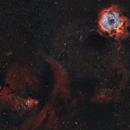 Monoceros Molecular Cloud Rosette & Cone Nebula, Bi-colour HOO,                                Astrobdlbug