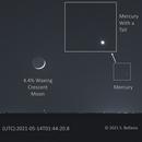 """Crescent Moon and """"Comet"""" Mercury,                                Steven Bellavia"""