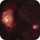 M8 and M20 (and a piece of M21) in Hα OIII Hß, added RGB stars,                                Uwe Deutermann