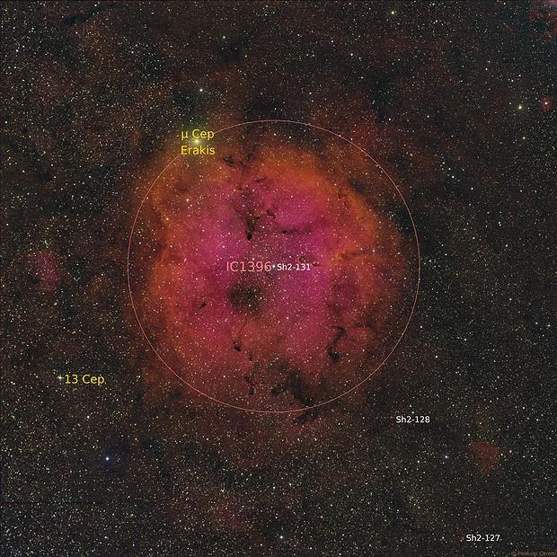 IC 1396 Emission Nebula in Cepheus and The Elephant's Trunk Nebula,                                gigiastro