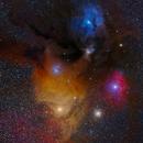 Rho Ophiuchi and Antares nebula, Askar FRA400 x0.7,                                tjm8874