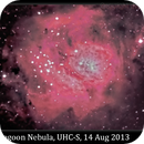 M8, Lagoon Nebula, UHC-S, 14 Aug 2013,                                David Dearden