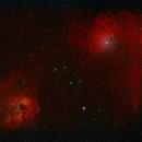 Flaming Star and Tadpoles Nebulae - IC405 IC410 - RGB,                                Piotr Czerski