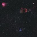 IC 443 (Jellyfish Nebula), NGC 2174 (Monkeyhead Nebula), M35 -- Nikon D5300 & 200 mm Telephoto lens,                                Nick Large