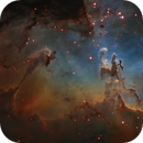 The Pillars of Creation in M16 in Hubble palette (SHO),                                Ariel Cappelletti