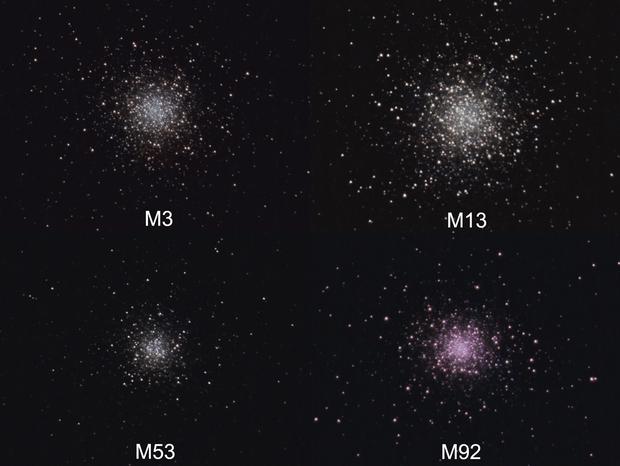 Comparison of 4 globular clusters,                                Giuseppe Nicosia