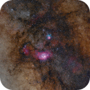 M8 and M20 at 135mm - new processing,                                astrodoud