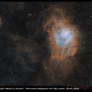 Lagoon and Trifid nebulas in narrowband,                                Luis Campos