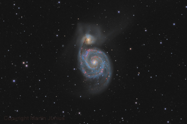 M51 - Whirlpool Galaxy - Mar 2020 v1 crop,                                Martin Junius