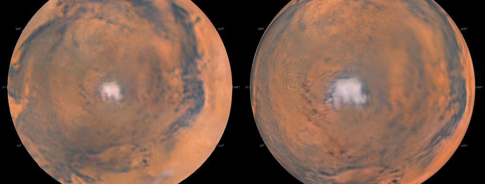 Mars south pole and polar cap (projections),                                Łukasz Sujka