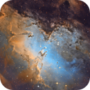 Zoom in the Pillars of creation in M16 - first light from 300 /1200 newton,                                Arnaud Peel