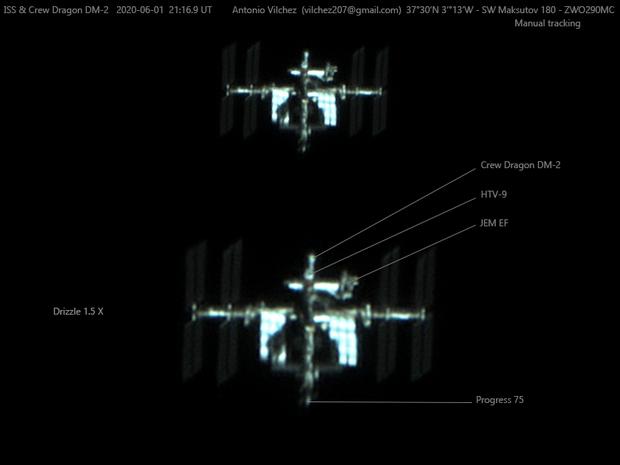 Crew Dragon docked with the International Space Station, 2020-06-01  21:16.9 UT,                                Antonio Vilchez