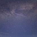 Two perseids and one satellite crossing Milky Way,                                Sergiu Neamtu