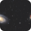 M81 and M82 LRGBHa - a 2 panel mosaic attempt,                                Algorab