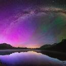 Fire in the Sky: Mount Rainier Milky Way and Aurora,                                Matt Dieterich