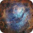 Lagoon (M8) SHO with RGB stars,                                Ben