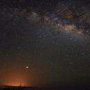 Milky Way, Mars, and the glow of lava on the horizon,                                legova