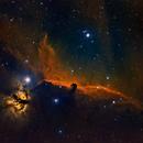 Horsehead Nebula and Flame Nebula in Orion Constellation,                                Jian Yuan Peng