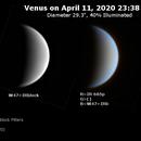 Venus on 2020-04-11 (Near-UV and IR),                                JDJ