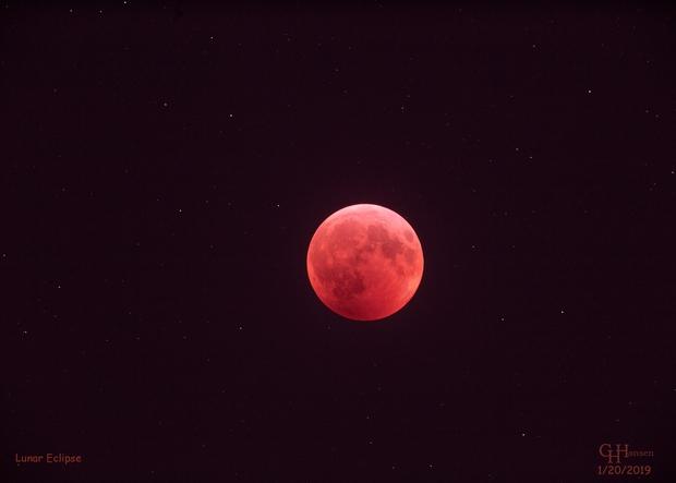 Lunar Eclipse January 20, 2019,                                Gordon Hansen