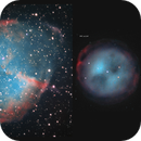 comparison of apparent sizes of planetary nebulae.,                                Exaxe