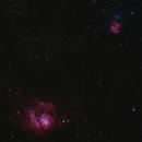 M8 (Lagoon Nebula), M20 (Trifid Nebula) -- Nikon D5300 & 200 mm Telephoto lens,                                Nick Large