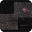 Closeup and Widefield of The Cocoon Nebula, IC 5146 and the Dark Cigar Nebula, Barnard 168,                                Madratter