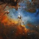 M16 (NGC 6611), open cluster and nebula in Serpens (SHO version),                                José Joaquín Pérez
