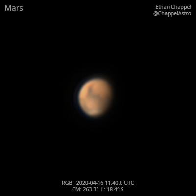 Mars on April 16, 2020,                                Chappel Astro