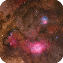 M8, M20 - Lagoon and Trifid wide field 2-panel mosaic,                                Leo Shatz