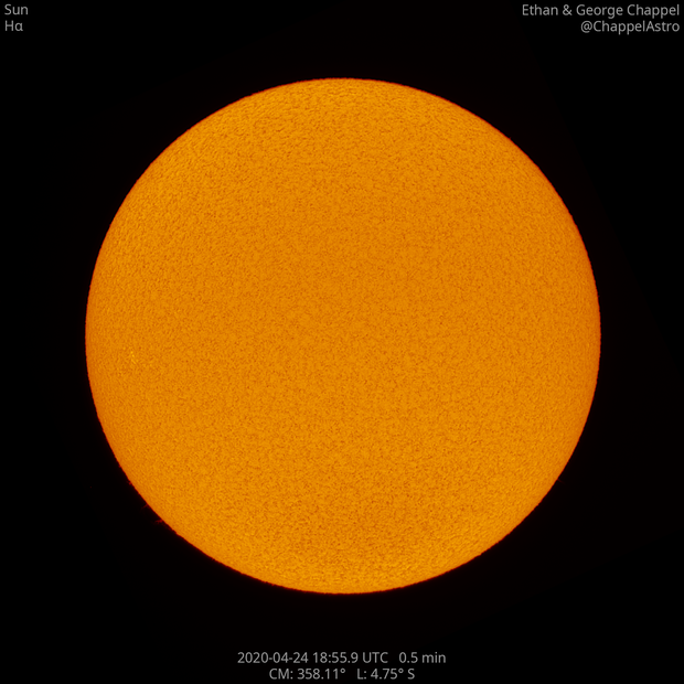 Sun with AR12760,                                Chappel Astro