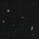 Owl Nebula (M97) and Surfboard Galaxy (M108) LRGB,                                Pam Whitfield