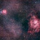 Trifid Nebula (M20) and Lagoon Nebula (M8),                                Erika Lac
