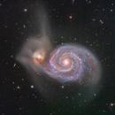 M51 Whirlpool Galaxy and NGC 5195 Companion in HaLRGB,                                Mark Wetzel