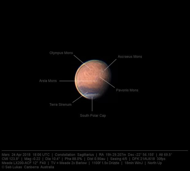 Mars 24 Apr 2018 18:06 UTC  - North up - Annotated,                                Seb Lukas