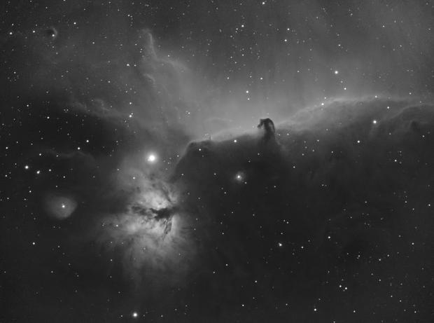 IC434+NGC2024 - Horsehead and flame nebulae - H.alpha,                                Jean-Marie MESSINA